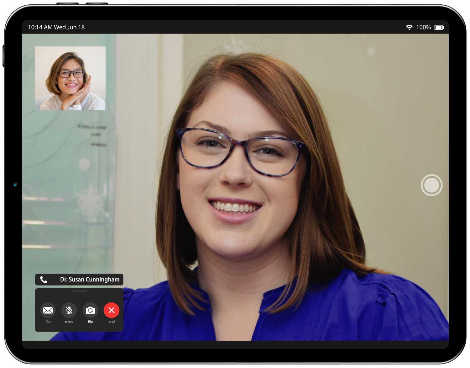 Tablet example of teledentistry software with Dr.Susan Cunningham